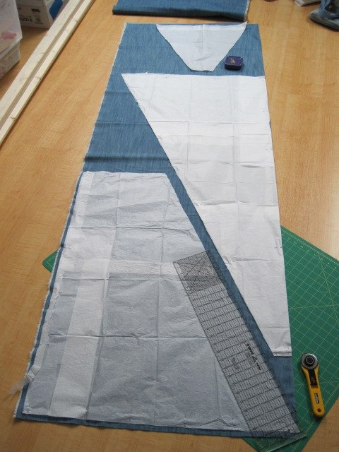 Pattern pieces for DIY teepee laid out and ready to cut