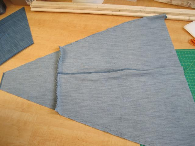 Example of front three panels of teepee sewn together