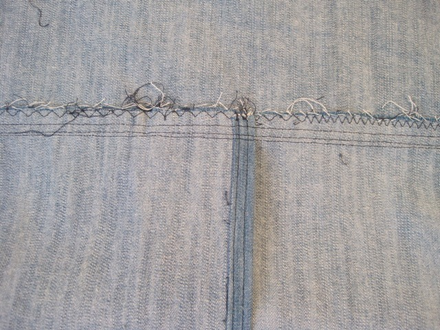 Example of teepee seam stitched up and zigzag finished