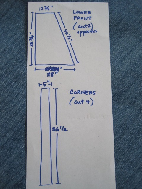 DIY teepee pattern pieces' dimensions and number of pieces to cut